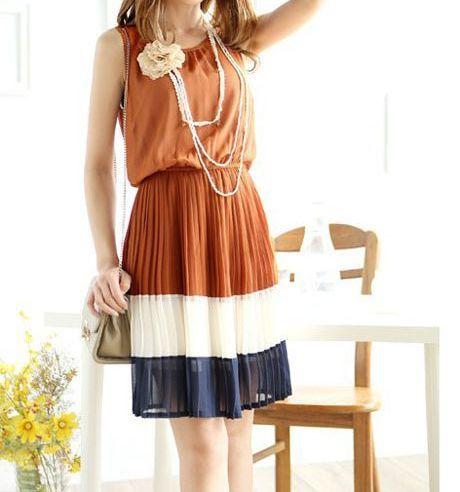 Tricolor Pleated Midi Vintage Dress