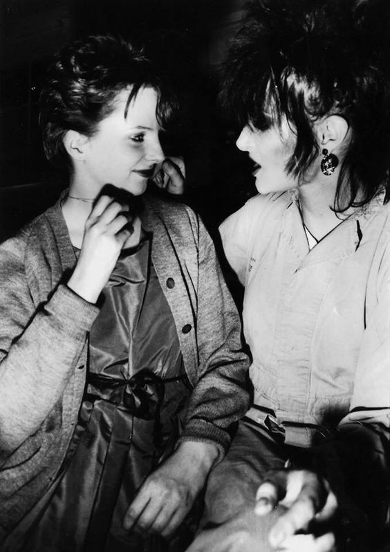 Clare Grogan of Altered Images with Siouxsie Sioux of Siouxsie and the Banshees