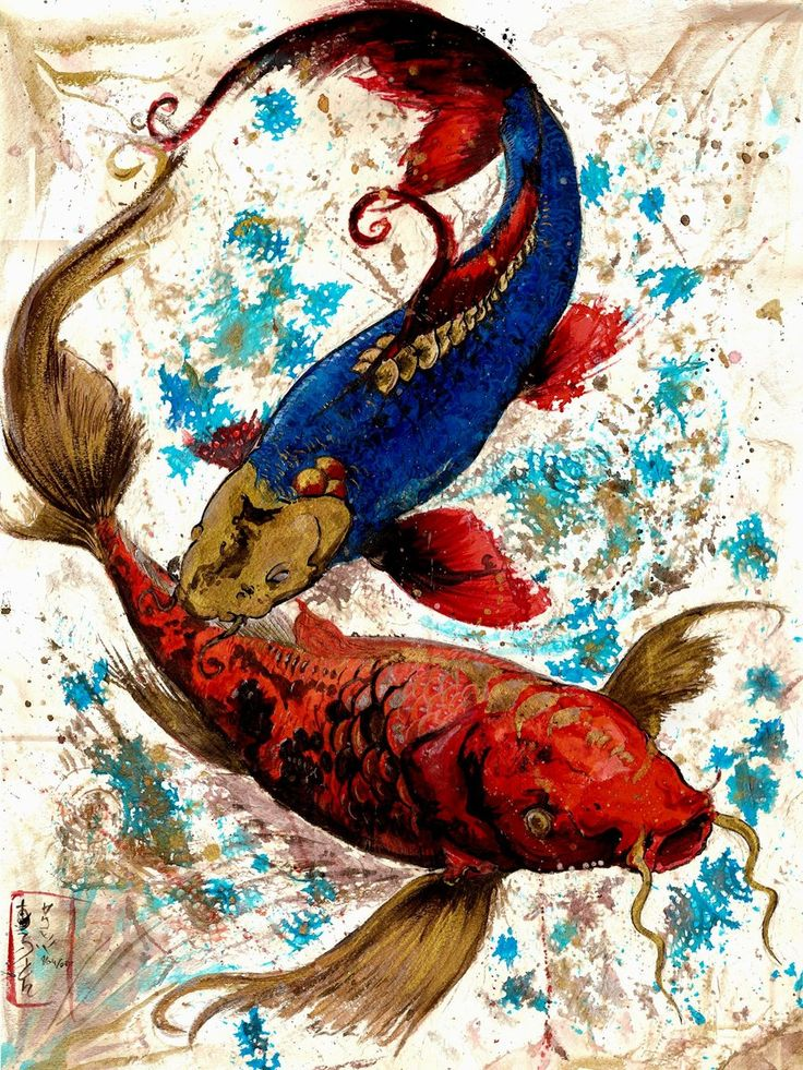 176 best koi tattoos and art images on pinterest fish for Japanese fish painting