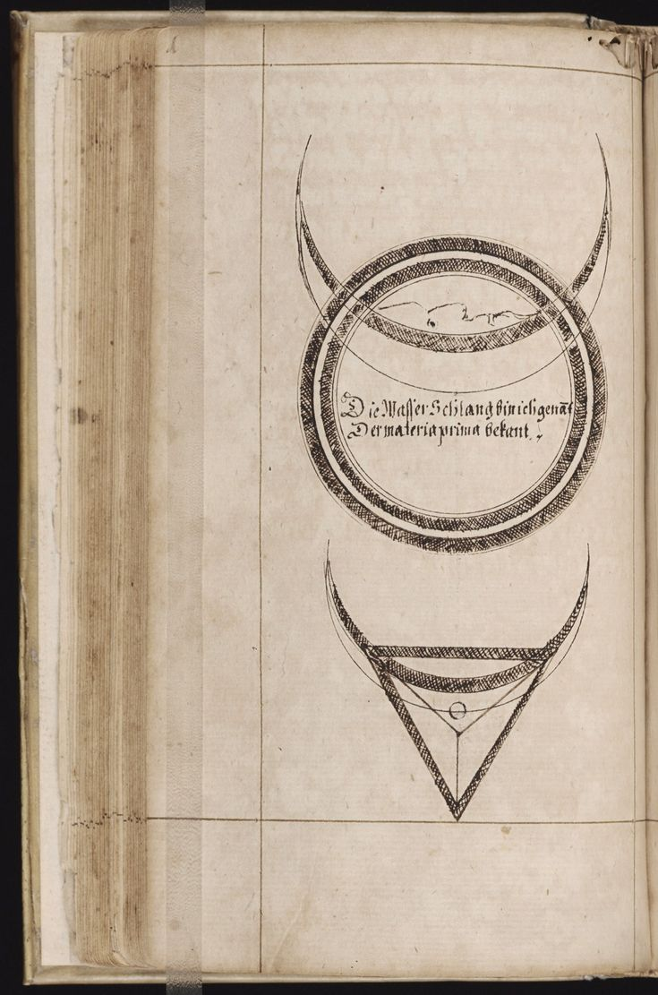Mellon MS 45: Alchemy, in German. Unsigned, ca. 1610. f. 45v, 46r : Geometric symbols containing luna crests. Beinecke Library, Yale.