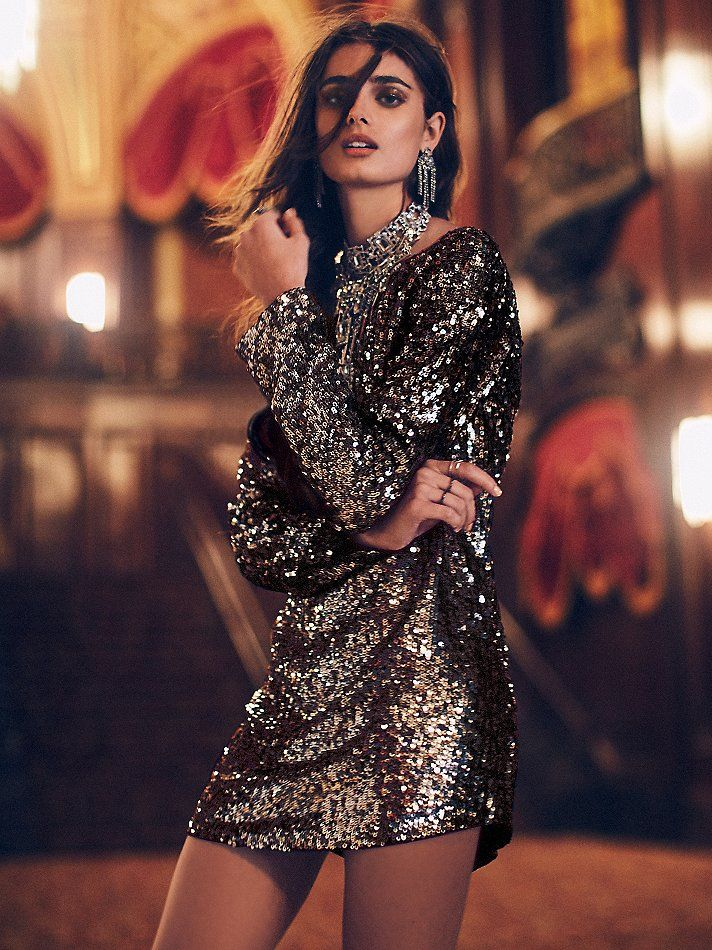Tarnished Gold Sequin Tunic | For an enchanted evening out, reach for this super sparkly tunic, featuring allover sequin embroidery. Shapeless silhouette with low back and rounded hem.