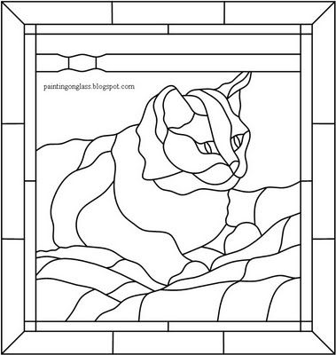 cat stained glass pattern