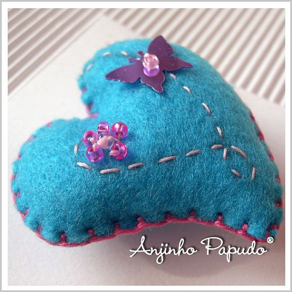 Valentine Blue Heart Brooch with Butterfly by anjinhopapudoshop.