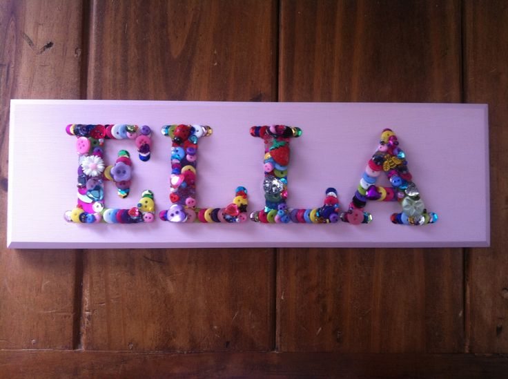 ELLA name plaque :) | Button Art By Me :) | Name plaques ...