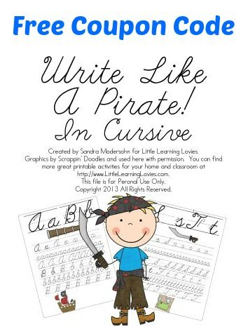 125 best cursive handwriting images on pinterest cursive cursive free write like a pirate cursive writing practice set coupon code fandeluxe Choice Image