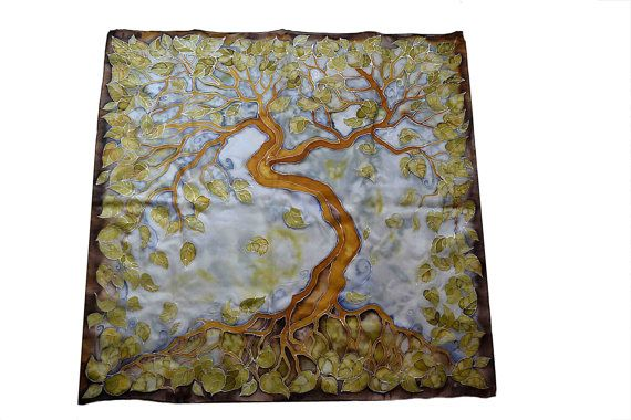 Hand-painted silk scarf  The Tree square silk scarf by JankaLart