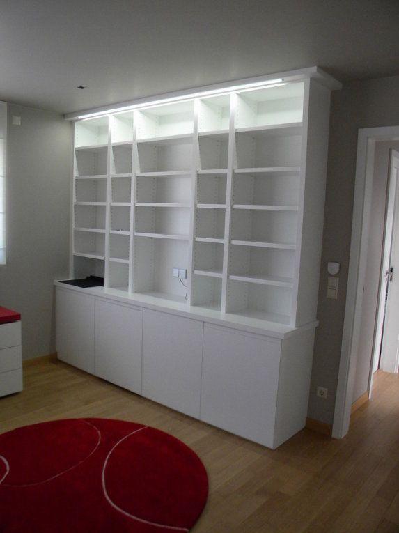 meuble bibliothèque laquée blanc avec tirette d'écriture et éclairage led