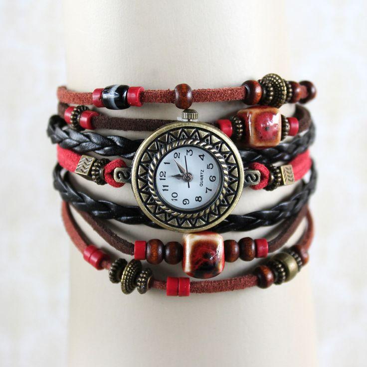Montre Femme Rouge & Noir, Style Ethnique Chic, Bracelet Perles Céramique, bois, Bijou Fait Main : Montre par l-oiseau-seraphine