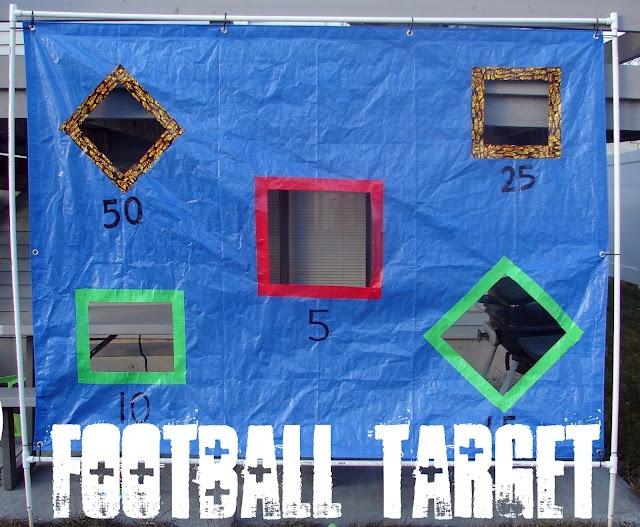 Football target/bean bag toss: Nerf Guns, Glue Guns, Cars Ideas, Cars Games, Kids Football Birthday Parties, Parties Ideas, Trunks Or Treats, Football Practice, Football Target