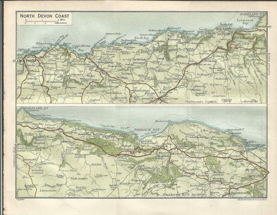 1915  map of north devon coast england antique  map by  muirhead  vintage wall decor.