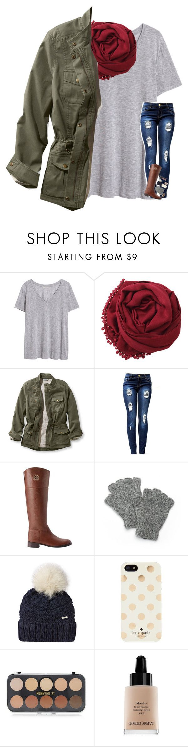 """Contest Entry #2"" by kat-attack ❤ liked on Polyvore featuring H&M, Bajra, L.L.Bean, Tory Burch, SIJJL, Woolrich, Kate Spade, Forever 21, Giorgio Armani and paige100"