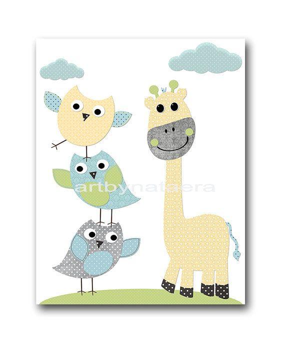 Vivaio Print gufo Decor gufo vivaio giraffa vivaio di artbynataera