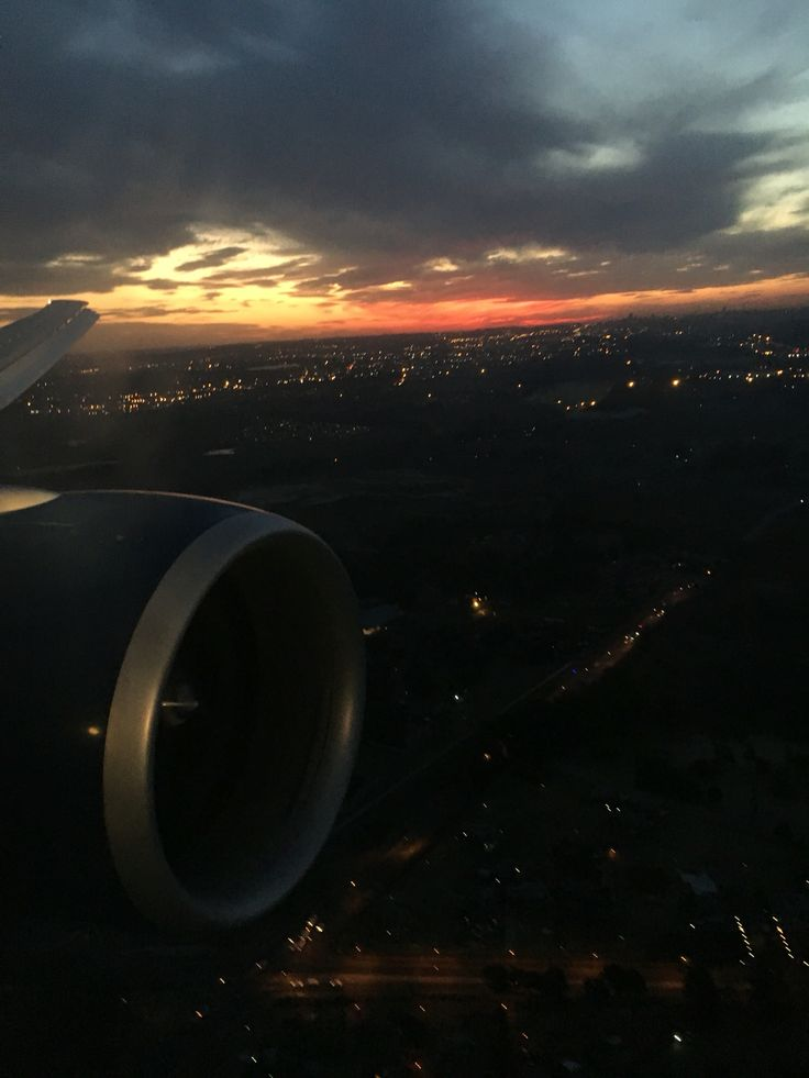 Sunset Johannesburg coming in to land