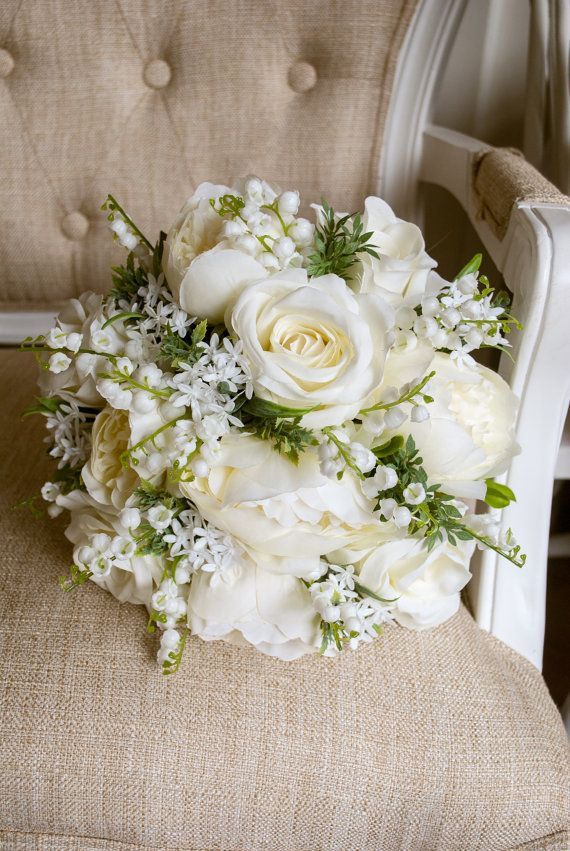 Natural ivory and white silk wedding bouquet. Made with artificial roses, peonies, bouvardia and lily of the valley. Laurel Weddings SilkFlorist