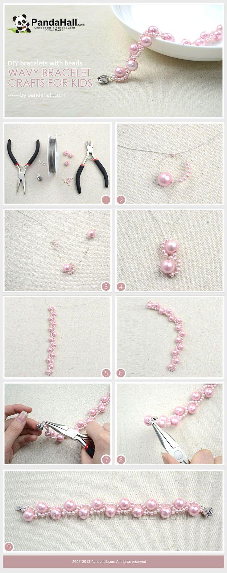 DIY bracelets with beads- wavy bracelet crafts for kids