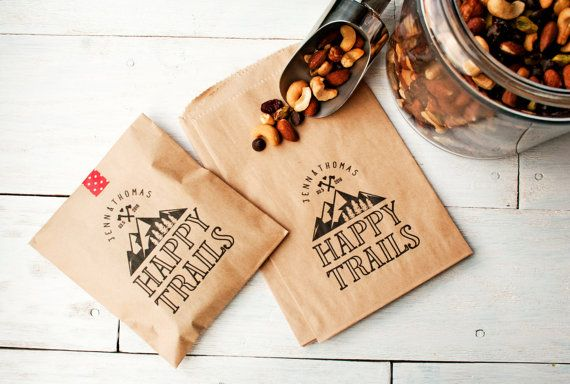 Wedding Favor Bag - Happy Trails - Trail Mix Favor Bag - Mountain Wedding Favor - Personalized Wedding Favor Bag - Flat Kraft Bags - 25 Bags