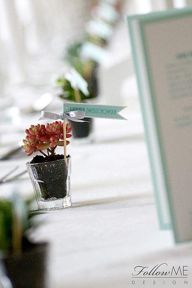 Winietki chorągiewki / Miętowe dekoracje ślubne od FollowMe DESIGN / Wedding Place Card Flags / Mint Wedding Decorations & Details by FollowMe DESIGN