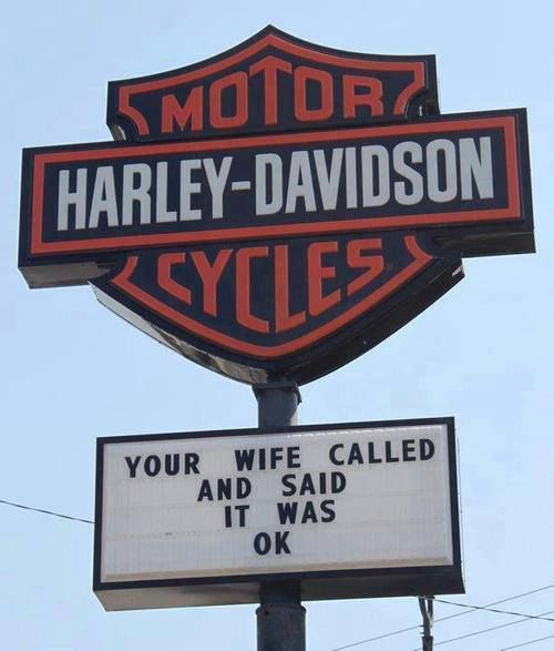 Yes, she did.... AGAIN! Agreeing to another new Harley would allow her to go back to hearing herself think without the never-ending background chatter of all the reasons this why this bike is better than his last new one!  Gotta luv him!!!!