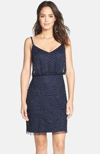 Adrianna Papell Sequin Mesh Blouson Dress available at #Nordstrom. Comes in Grey/silver and dusty blue.
