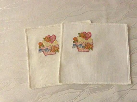 Tea embroidered  coasters Christmas gift for women  Coasters
