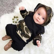 2017 Novo Conjunto de Roupas de Bebê Primavera Infantil Meninos Camuflagem Camo Com Capuz Tops Calças Compridas 2 Pcs Set Roupas Roupas de Recém-nascidos(China (Mainland))