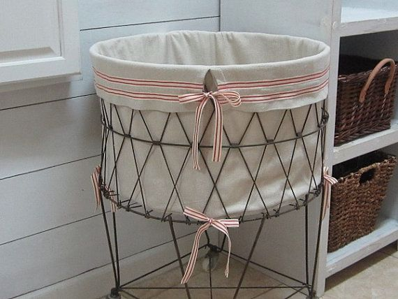 French Wire Hamper Liner , Grain Sack Inspired Farmhouse
