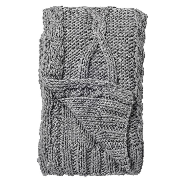 Knitted Throw 127x152cm, Grey, Bloomingville