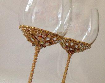 Wedding Glasses Gold Wine Glasses Toasting от NevenaArtGlass
