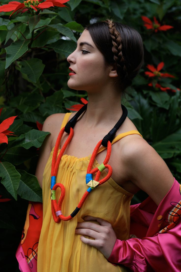 .: Beads Crochet, Statement Necklaces, Katherine Mary Pichulik, Ropes Necklaces, Jewelry Inspiration, Vibrant Color, Jewellery Crafts, Big Red, Hair Color
