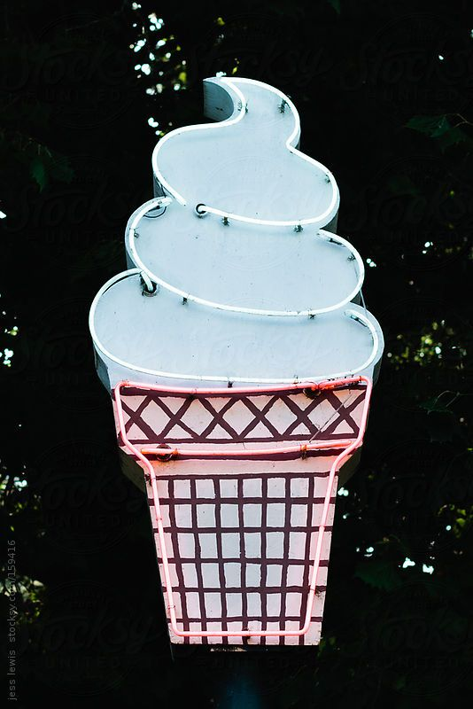neon ice cream sign by jess lewis