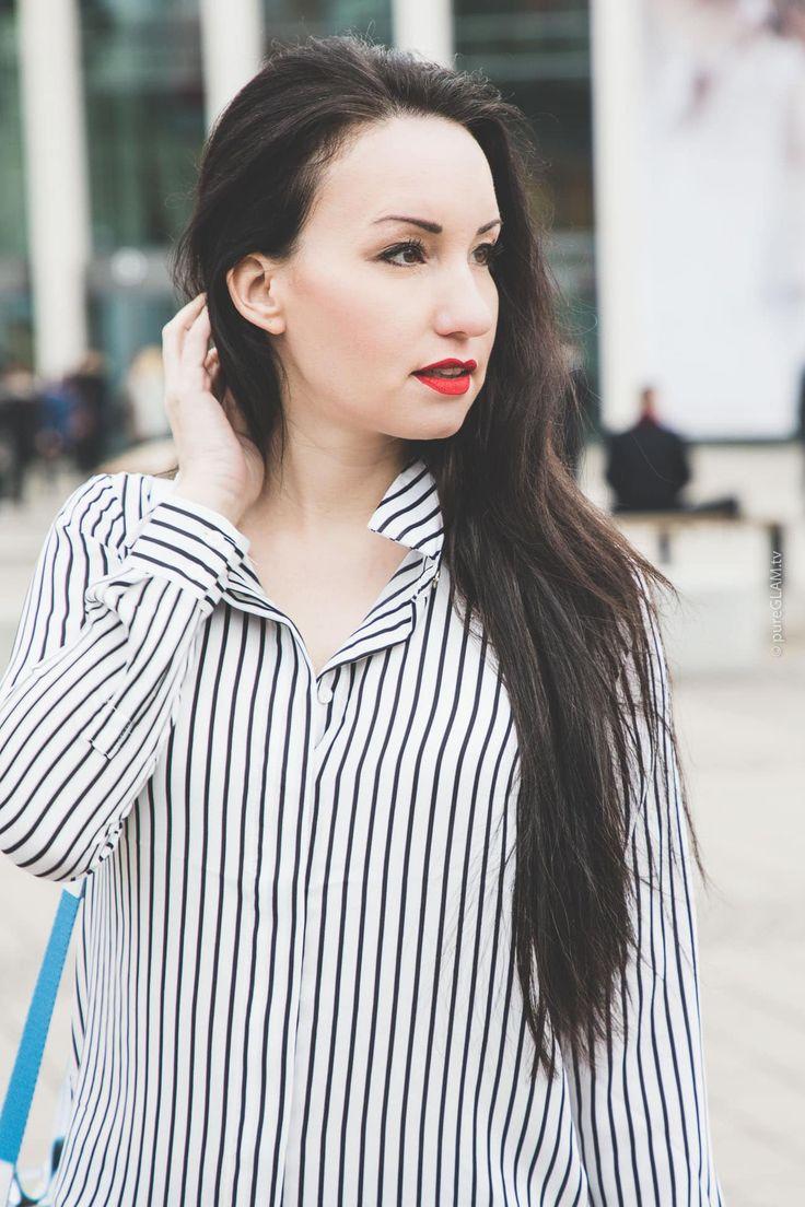 Fashionblogger Vanessa Pur - Luxusbloggerin - Lifestylebloggerin - ITB Reisemesse - Lederhose und gestreifte Bluse - Christian Louboutin Pumps, Ted Baker Blazer