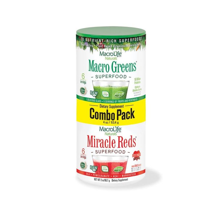 MacroLife Naturals Miracle Reds and Macro Greens Superfood Combo Pack - 4 oz. Nutrient Rich Superfoods MacroLife Naturals MiracleReds and Macro Greens Superfood