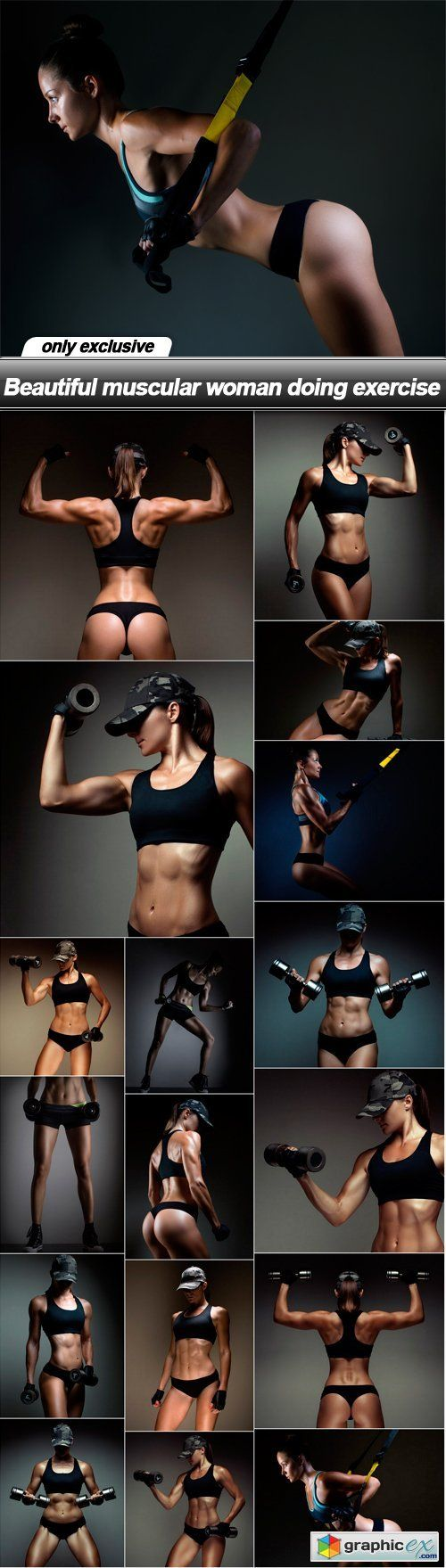 Beautiful muscular woman doing exercise  18 UHQ JPEG  stock images
