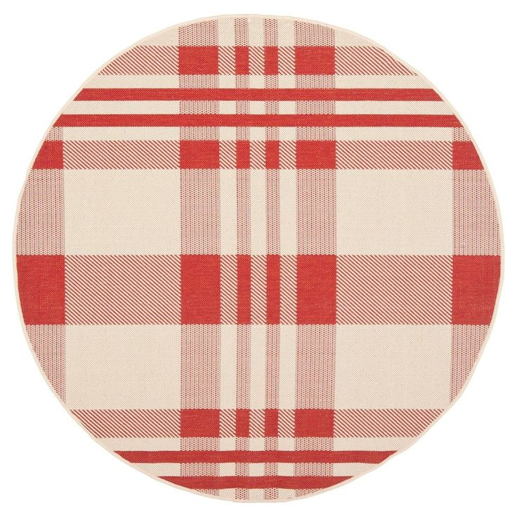 Siena Rectangle 2u00273X10u0027 Runner Outdoor Patio Rug   Red / Bone   Safavieh