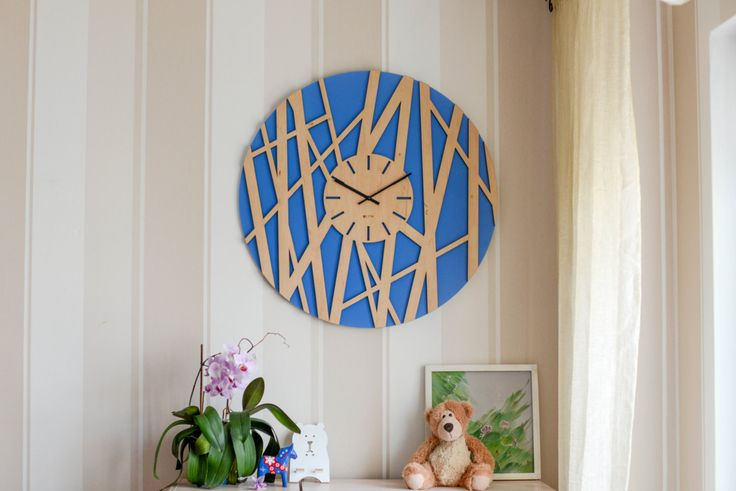 """Wood Wall Clock """"Bamboo"""", Modern Wall Clock  Large Wall Clock, Wooden Clock, Wood Decor Interior, hermle zen plywood, handmade, BLUE by Lines4room on Etsy"""