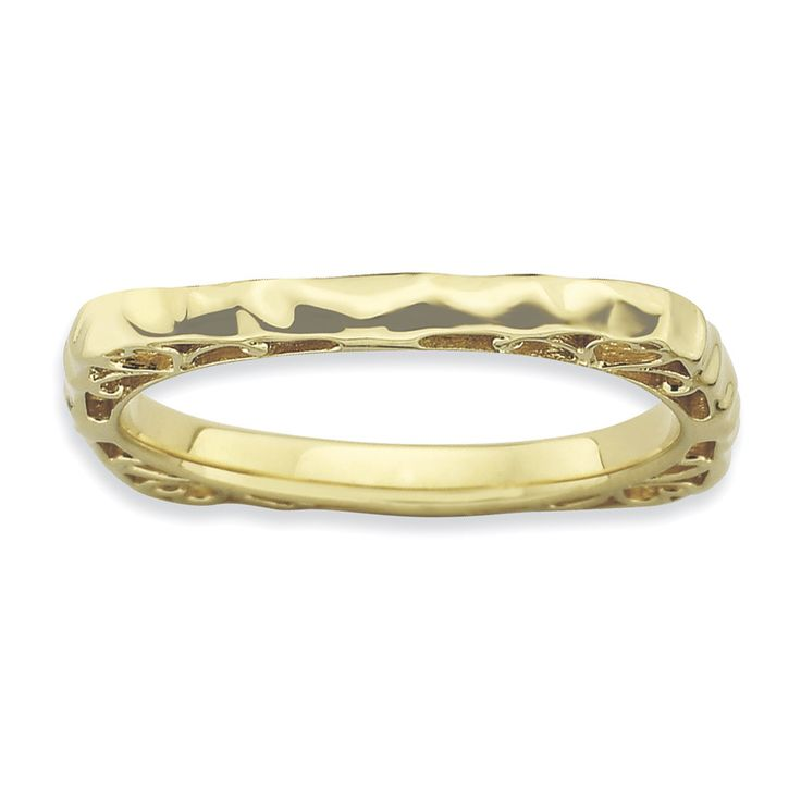 Sterling Silver Stackable Expressions Polished Gold-plate Square Ring QSK758