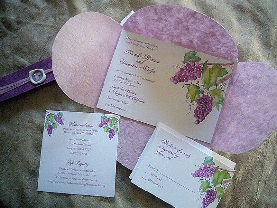 Sample - Grapes and Purple Wedding Invitations with Wax Seal Set. $10.00, via Etsy.