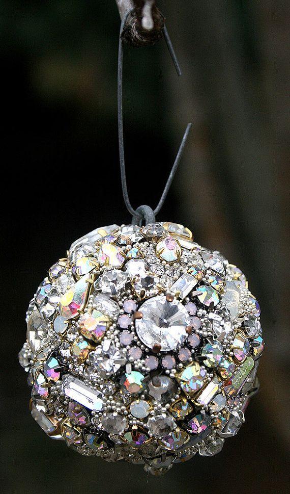 Vintage Rhinestones Crystals Ball Orb Sphere Ornaments