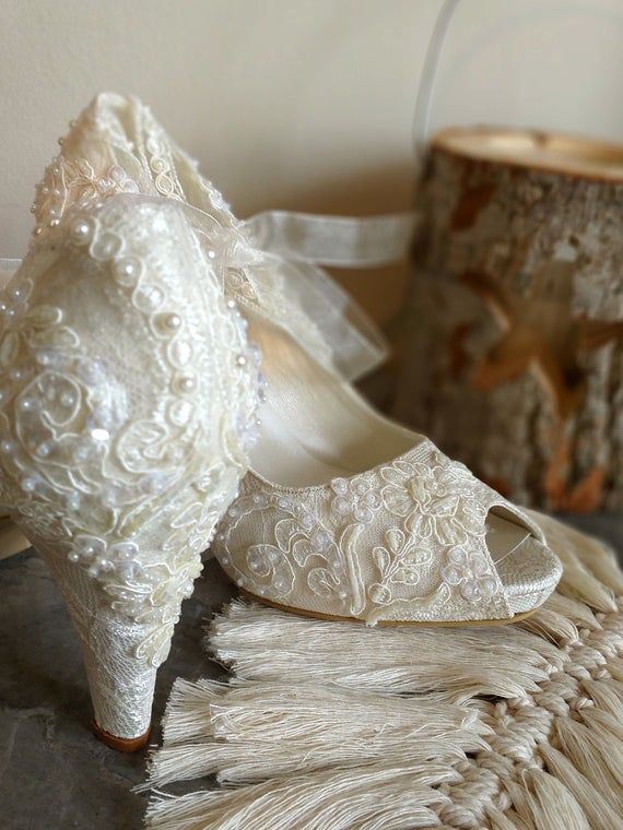 Lace Wedding Shoes For Bride Embellished Ivory Bridal Shoes In