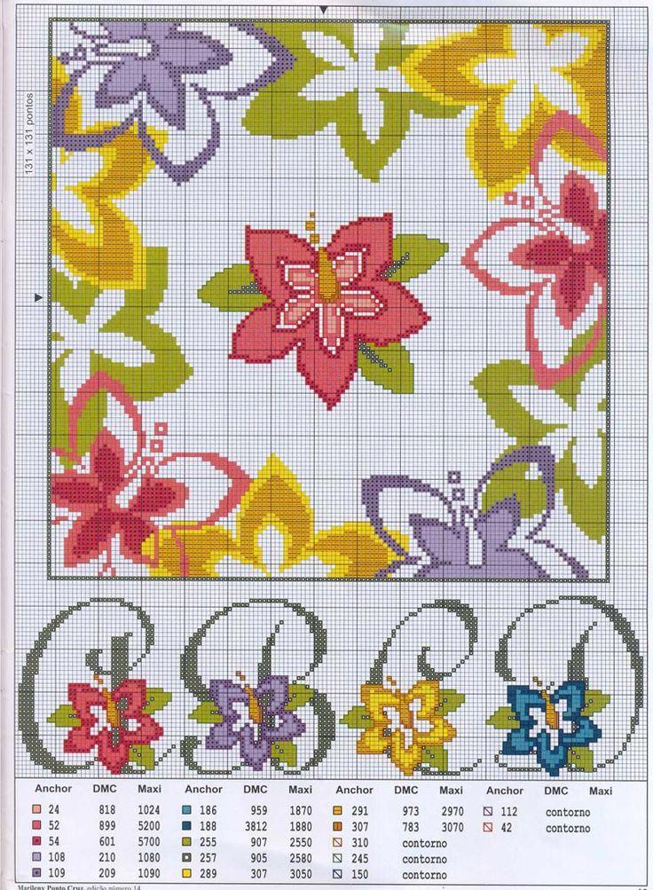 Schema punto croce Fiori-14