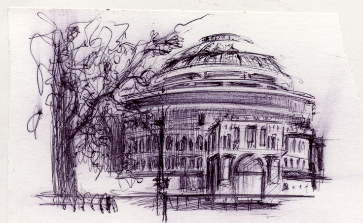 Jarno Lehtinen. Royal Albert Hall, sketch 4x6cm 1999 (signature got clipped out of the scan...)