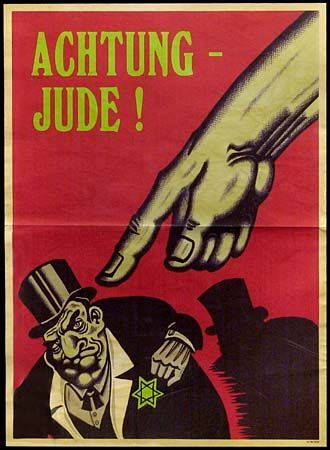 This is German propaganda from WWII. It illustrates a Jew as being overweight and rich and looking smug and elitist. This is very interesting because one could view Shylock in a similar way (not that he's elite). He was obsessed with money, selfish, and greedy, as this poster depicts. These two similarities just show how terrible Jewish stereotypes are!