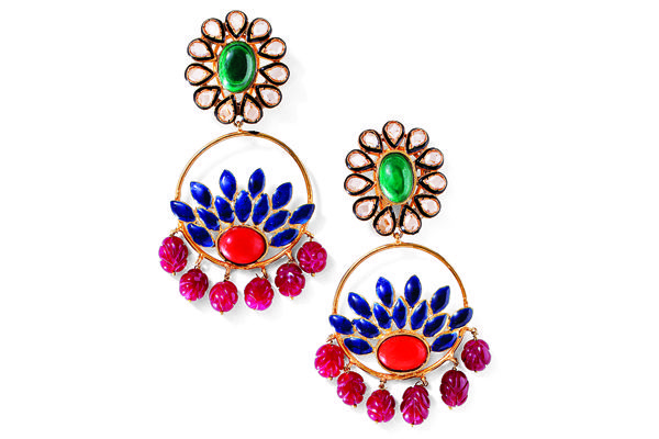 Mehak Gupta gold-plated earrings with semiprecious stones