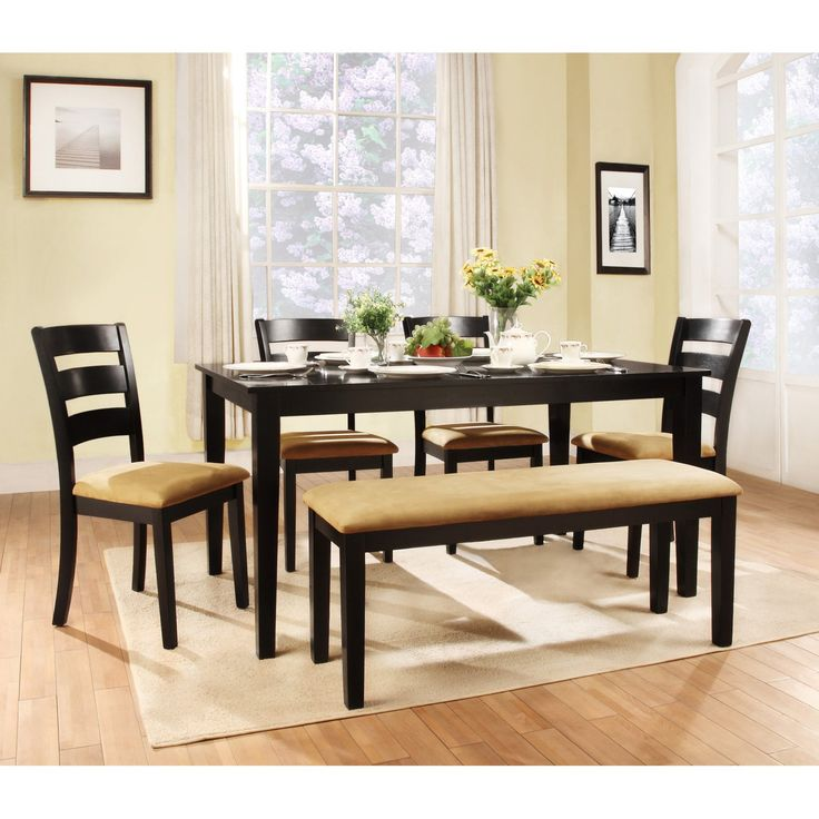 Weston Home Tibalt 6 Piece Rectangle Black Dining Table Set - 60 in. with Ladder Back Chairs & Bench - HME2078