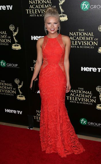 Kelli Goss killing it in red!