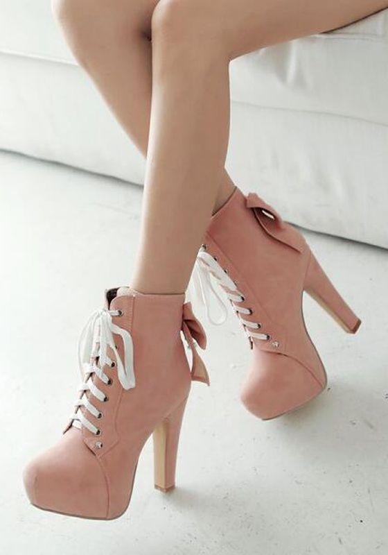 Botas de punta redonda corbata de lazo grueso de la moda con cordones rosa