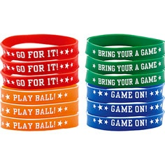 Baseball Bracelets 12ct - Baseball (for the Goody Bags) . . . this site had the best price, by far - PartyAmerica.com