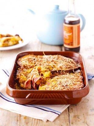 CROQUE MONSIEUR BAKE, Sunday morning brunch? Could easily swap in turkey ham for the pork ham