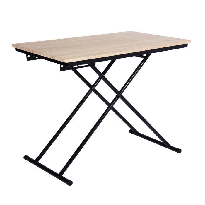 Up Down Table Basse Relevable Decor Bois Pied Noir L 110 Cm Table Basse Relevable Table Basse Table Basse Reglable
