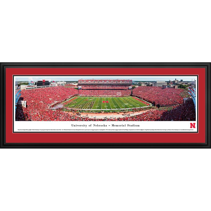 Worldwide Blakeway Panoramas 'Nebraska Cornhuskers Football 50-yard Line' Framed Print